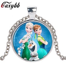 Caxybb Elsa Anna Olaf fever pendant cartoon necklaces girl jewelry round necklace women girls gift for children silver neck lace(China)