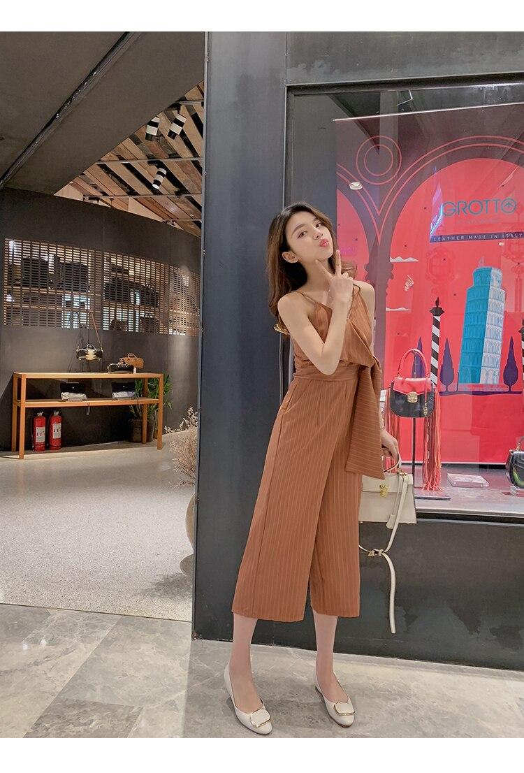 Sling Off Shoulder Sleeveless Striped Jumpsuit 2019 New Fashion V-Neck High Waist Nine Points Wide Leg Jumpsuit Summer 17 Online shopping Bangladesh