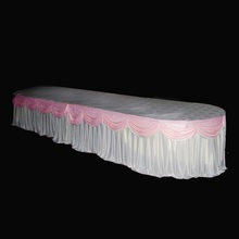 24ft x 29'' Luxury White Ice Silk Fabric Table Skirt Tablecloth Cover With Swag For Wedding Banquet Event Party Decoration