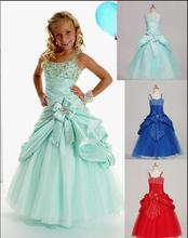 Sweet Green Taffeta Straps Beads Wedding Flower Girl Dresses Girls' Pageant Dresses Dressy Custom Size 2 4 6 8 10 12(China)