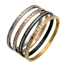 New 1 Rows Crystal Gold/Rose Gold/Silver Color Stainless Steel Bangle Cuff Love Bracelets & Bangles Women Open Wedding Jewelry
