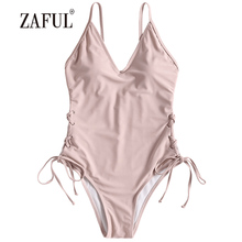 Buy ZAFUL Women One Piece Swimsuit Lace-up Padded One Piece Swimwear Sexy Spaghetti Strap Swimming Suit Beach Bathing Suit Beachwear