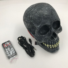 Fashion Style Wireless Speaker Skull Head Type Led Eyes Bluetooth Player Support USB TF Card Dual 5W With Remote Control 1Pcs(China)