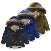 2016 Winter Embroidered Male Baby Child Boy Hoody Plus Velvet Thicken Wadded Cotton-Padded Jacket(China)