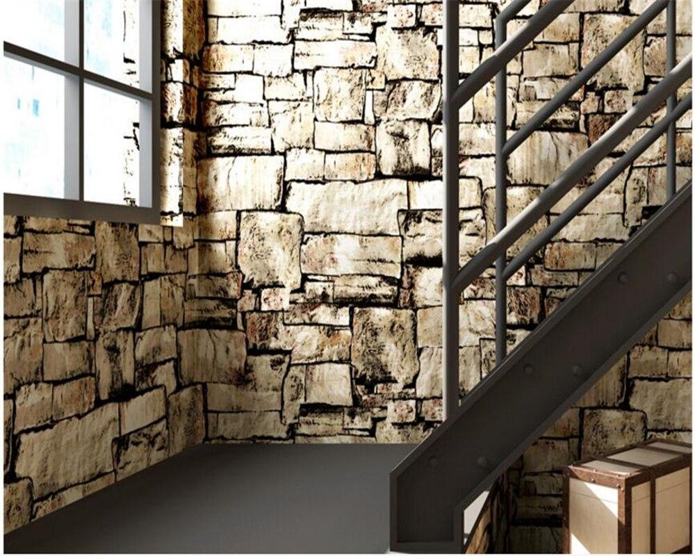 beibehang papel de parede Retro Nostalgic Marble Stone Bar Cafe Industrial Wind 3d Wallpaper Simulation Brick Wallpaper behang<br>
