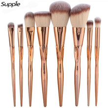 4/8pcs Metal Makeup Brushes Set Cosmetic Face Foundation Powder Eyeshadow Blush Lip Plating Make Up Blending Brush Kit Maquiagem(China)
