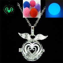 Free shipping Y20931 Dull Silver Glow In The Dark Fragrance Diffuser Love Heart Locket Necklace 24""
