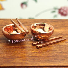Dollhouse Miniature Toy Kitchen Metal Copper Rice Bowl And Chop Sticks DM65