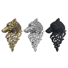 Newest Fashion Alloy Wolf Head Suit Collar Brooch Jewelry Trendy Animal Domineering Wolf Brooches Pin Buckle For Men Wholesale