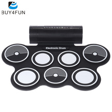 Portable Foldable Silicone Electronic Drum Pad Kit Digital USB MIDI Roll-up with Drumstick Foot Pedal(China)