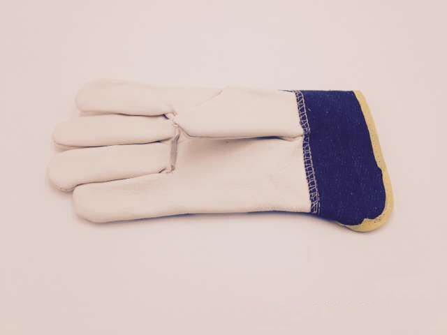 Light colored denim knife gloves a layer of light colored leather welding protective insulation wear labor protection<br>