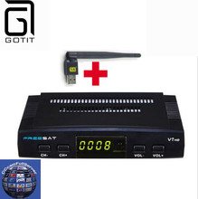 Freesat V7 CCcam Satellite Receiver +1 Year Europe Spain CCcam 4 Clines Server+1 USB WIF Device DVB-S2 Satellite HD Receiver(China)