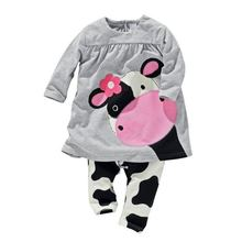 2017 autumn hot sale baby girl clothes casual long-sleeved T-shirt+Pants suit Tracksuit cow suit kids clothing set
