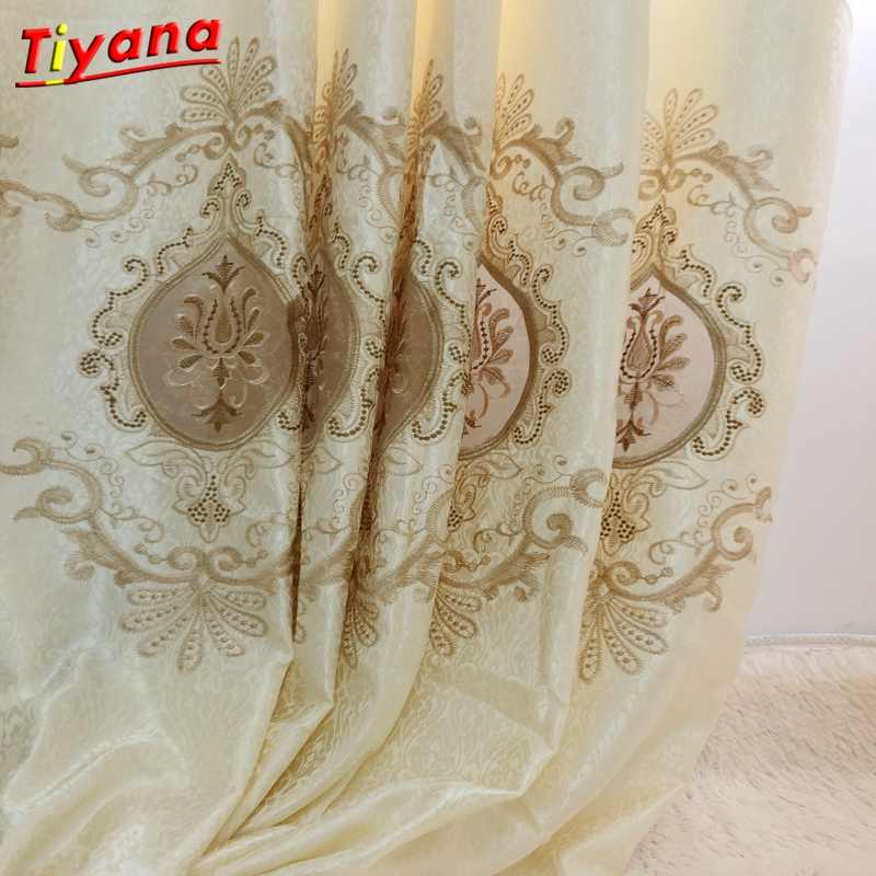 Modern Fancy good quality embroidered European curtains cloth voile tulles for decoration living room bedroom balcony Su054 *15