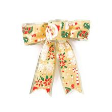 Painted Snowman Luxury Artificial Christmas Bowknot Christmas Tree Hanging Decoration (Gold)(China)
