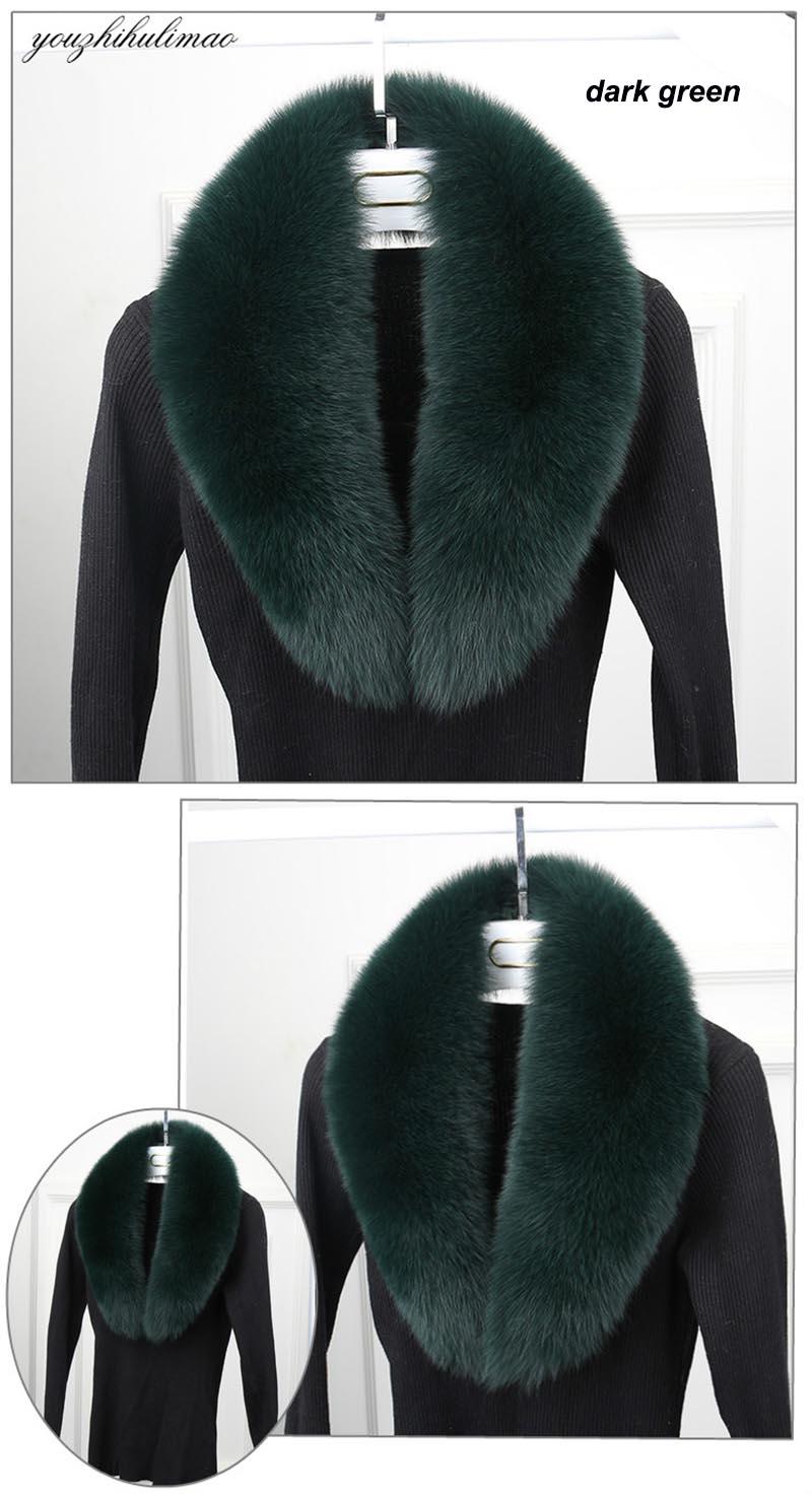 fox fur collar dark green