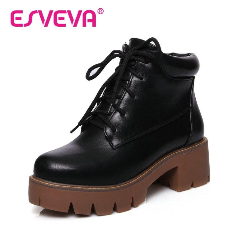 ESVEVA  Punk 2016 Thick Heel Autumn Shoes Women Black Ankle Boots High Heel Ladies Platform  Lace Up Fashion Boots Size 34-43<br>
