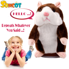 Talking Pet Hamster Electronic Animal Plush Toy - Mimics and Repeats After Words & Sounds - Special Birthdays Gift for Kids(China)