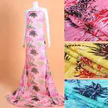 5Meter/Lot 150cm Width Coconut Palm Resort Style Silk Fabric Chiffon Print Fabric Textile For Dress Cloth Scarf