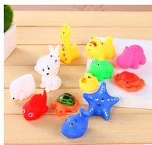 13 Pcs Lovely Mixed Animals Swimming Water Toys Colorful Soft Rubber Float Squeeze Sound Squeaky Bathing Toy For Baby Bath Toys(China)