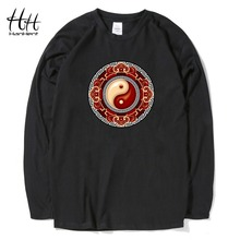 HanHent Tai Chi T-shirts LOGO Long Sleeve Fashion Spring Autumn Creative Chinese Tee shirt Man Design Unisex Brand Clothing(China)