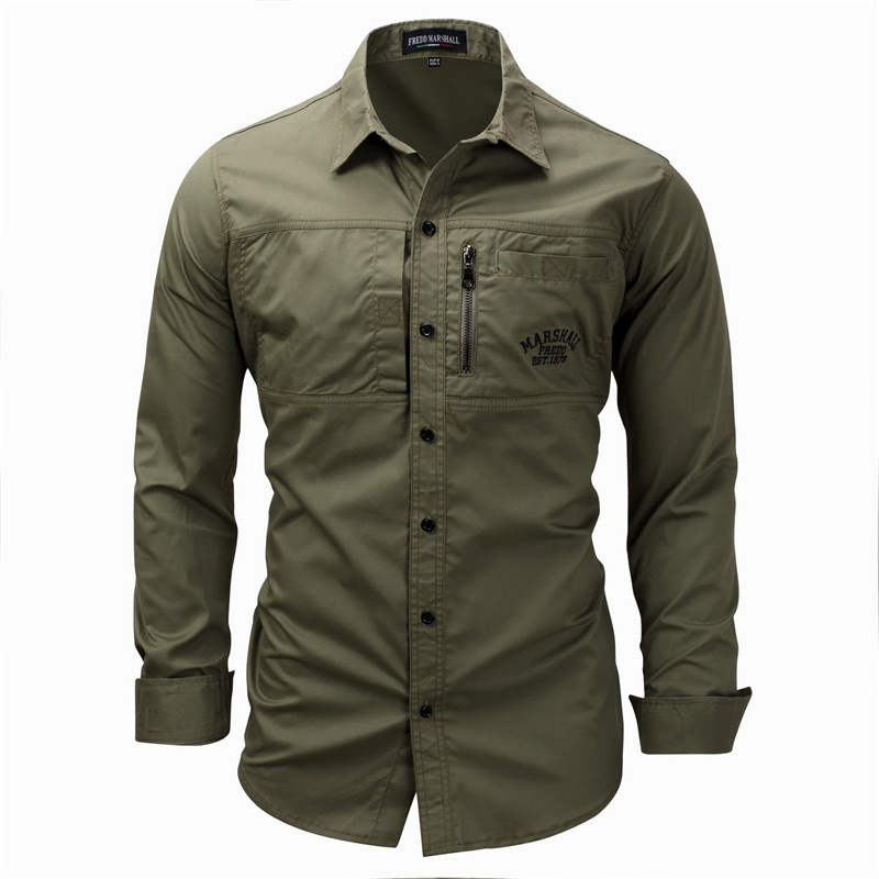 Fredd Marshall Fashion Men's Shirts Spring Cotton Solid Color Long Sleeve Male Shirt with Zipper Pockets Camisa Masculina Plus Size (4)