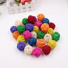 10pcs 4cm multi-colored rattan birthday party wedding decorations Christmas supplies DIY light string decorated rattan ball(China)