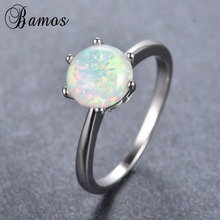 Bamos Simple Round Rainbow Fire Opal Rings For Women Men White Gold Filled Wedding Party Promise Ring Valentine's Day RP0081(China)