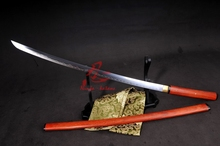 battle ready folded blade clay tempered red wooden shirasaya katana sharp sword(China)