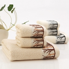 Towel set high quality bamboo fiber face towel, soft, comfortable, embroidery jacquard beach towel