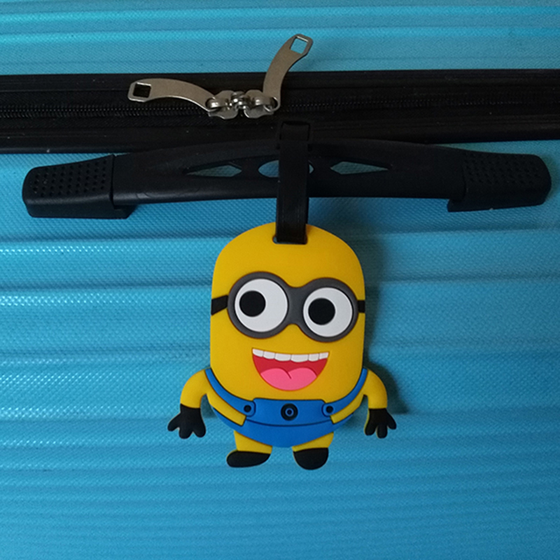 Travel Accessories Luggage Tag Suitcase Cartoon Style Cute Minions Silicone Tags Portable Travel Label Bag Tag Obag Accessories (20)