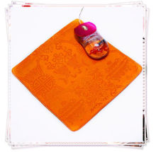 1PCS 22*2cm Chinese Style Handmade Vintage Silk Brocade Rubber Orange Mouse Pads Mat(China)