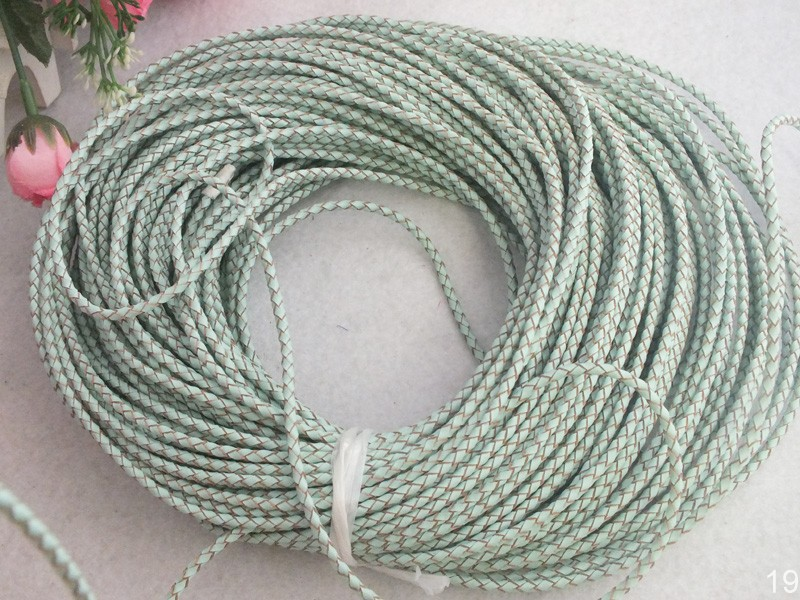 free ship! A-4178 3mm 50m/lot Blue Braided Leather Cord For Jewelry Making