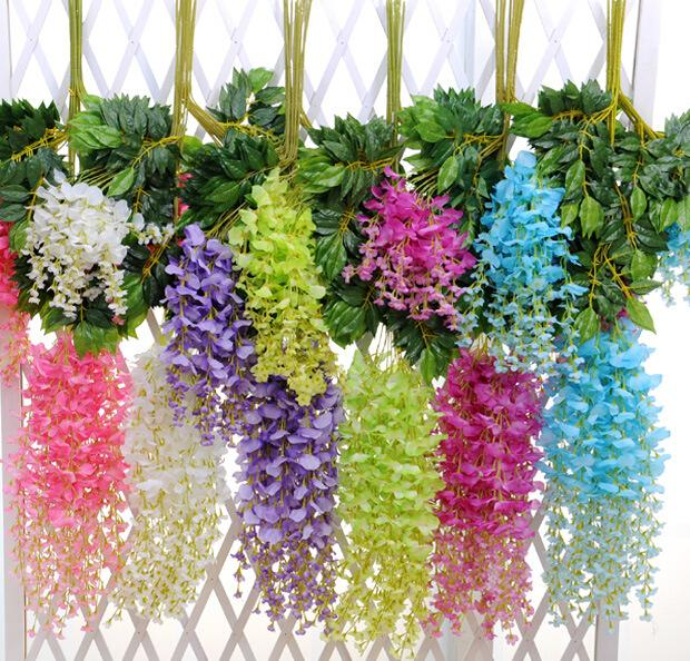 Upscale artificial bulk silk flowers bush wisteria garland hanging upscale artificial bulk silk flowers bush wisteria garland hanging ornament for garden home wedding decoration supplies in artificial dried flowers from junglespirit Choice Image