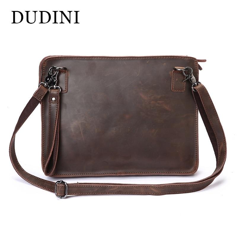 DUDINI Genuine Leather Fashion Men Bags Messenger Bags Business Mens Crazy Horse Leather Crossbody Shoulder Bag Handbags<br>