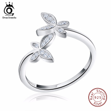 ORSA JEWELS Fashion Silver 925 Adjustable Rings Flower Design Sterling Silver Ring with Austrian Cubic Zirconia for Women SR10(China)