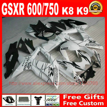 + Fairing kit Suzuki GSXR600 GSXR 750 08 09 10 white black Corona fairings set K8 600 2008 2009 2010 Q751 - Custom store