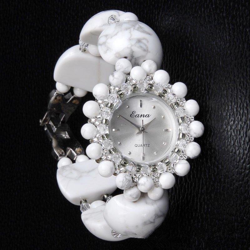Women Luxury Natural white turquoise Watch Classic jade Bracelet Wristwatch Cozy Fashion Casual Quartz Watch Clock  Hot sell<br>