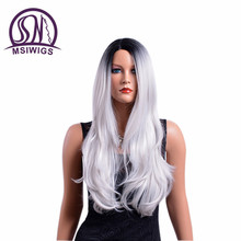 MSIWIGS Long Wavy Synthetic Hair Ombre Wigs for Women Mix Color High Temperature Fiber American Afro Wig Free Hairnet