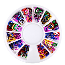 2Pcs/lot Pretty Nail Tips English Alphabets Letter Flash Nail Art Stickers DIY Nail Art Decorations for Nail Gel Polish