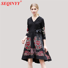 Retro Noble Asymmetrical Women Dress 2018 Early Spring High End Exquisite Embroidery 3/4 Sleeve Ribbons Bow Spliced V-Neck Dress(China)