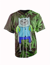 Real American Size  faded adventure time  3D Sublimation Print Custom made Button up baseball jersey plus size