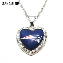 1pcs New England Patriots Crystal Football Glass Silver Heart Pendant Necklace 50cm Alloy Chains For Women Necklace Jewelry(China)