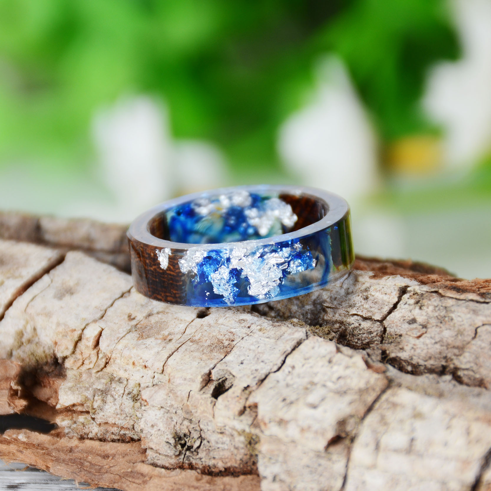 Clear Wood Resin Ring Handmade Dried Flower Hand Jewellery 19