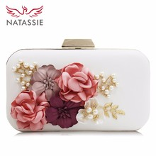 Natassie Brand Women Flower Wedding Party Clutch Purse Ladies Evening Bag Royal Blue Day Clutches With Pearl Chain(China)