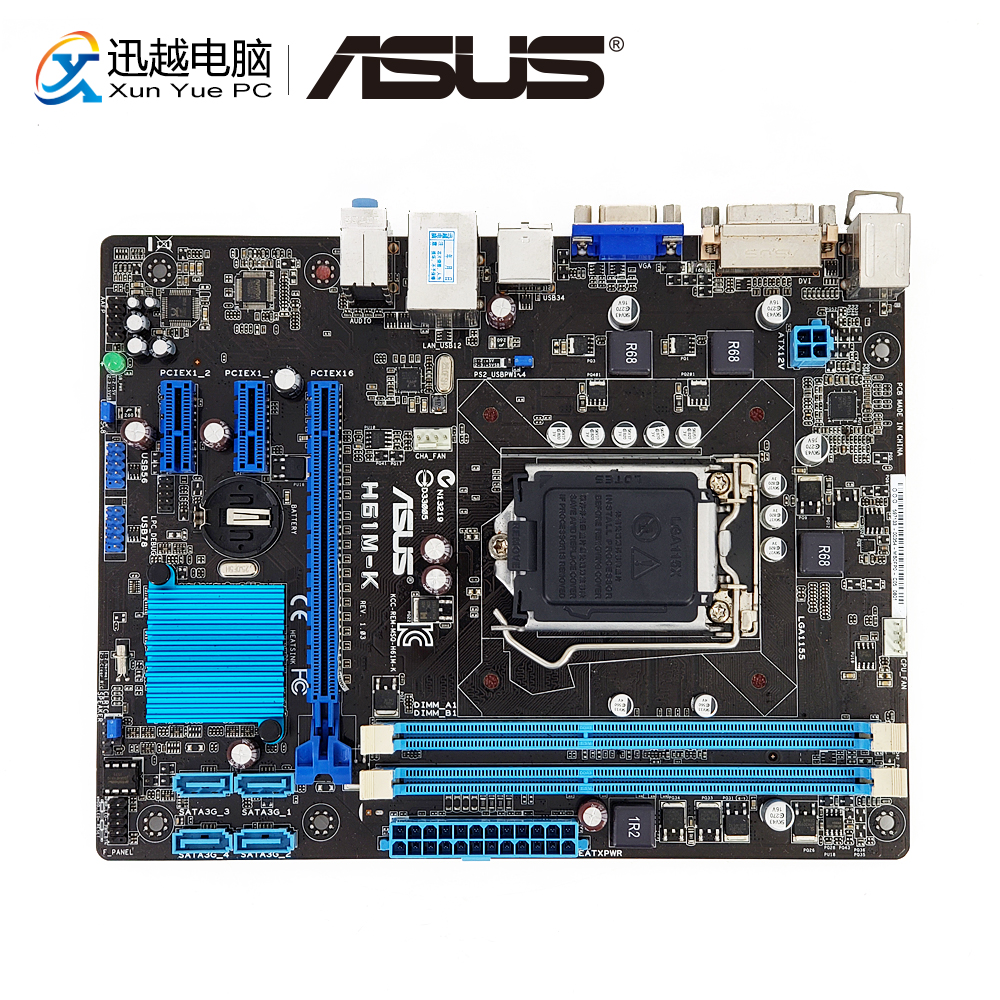 Asus Desktop Mainboard Core Lga 1155 I5 DDR3 H61-Socket H61M-K SATA2 Used for I3 I7 16G title=