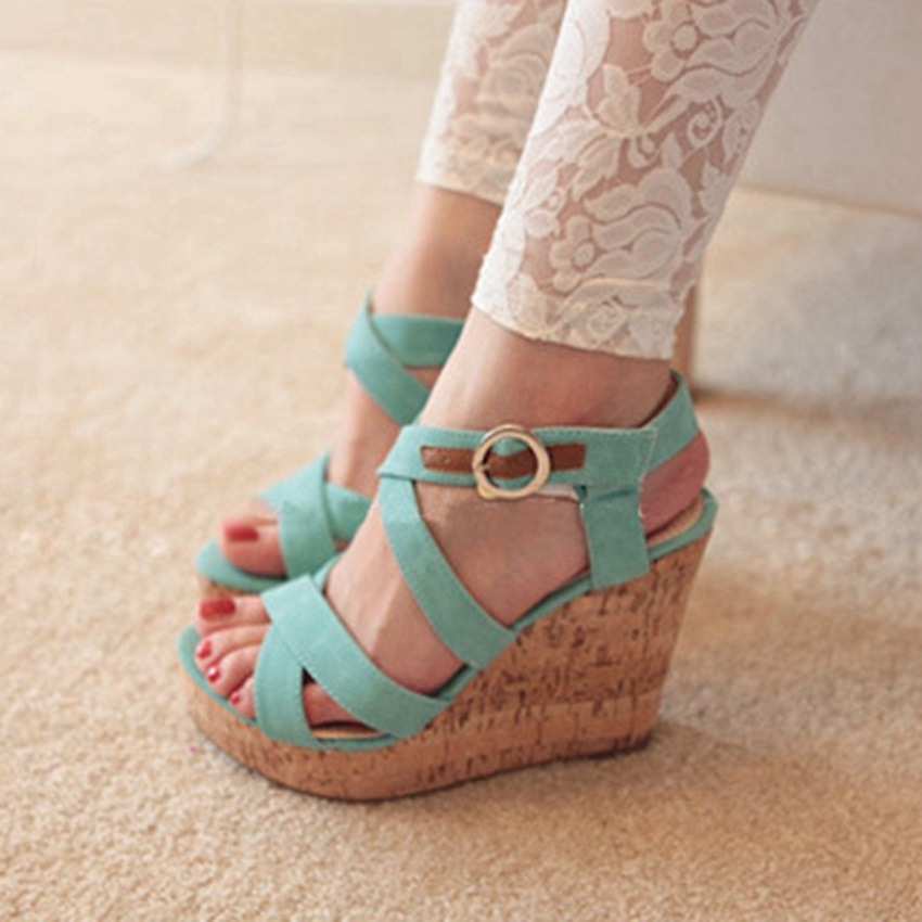 Women Ankle Strap Platform Fashion Wedges Sandals Sexy High Heels Plus Size Party Shoes Pumps for Summer hh633-1<br>