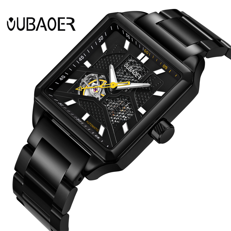 Oubaoer Automatic Mechanical Watch Men Luxury Brand Black Skeleton Watch Business Watches Male Rectangle Stainless Steel Watch<br>