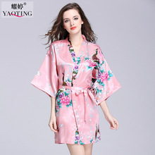 Women Sleep Shirt Causal Nightgown Night Gown Bathrobe Faux Silk Negligee Slip Kimonos East Style Peacock Image for Summer(China)