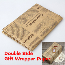 52x75cm Newspaper Decoration Wrapping Paper Wrap Gift Wrap Double Sided Christmas Party Decor Vintage Kraft Paper Random Color(China)
